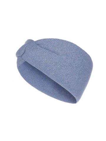 Женская повязка на голову голубого цвета из кашемира - фото 1