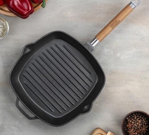 Сковорода-гриль, 24×24 см, съёмная ручка, без крышки