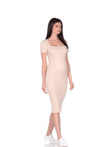 Euromama/Евромама. Платье для беременных и кормящих с двойным лифом, бежевый вид 1