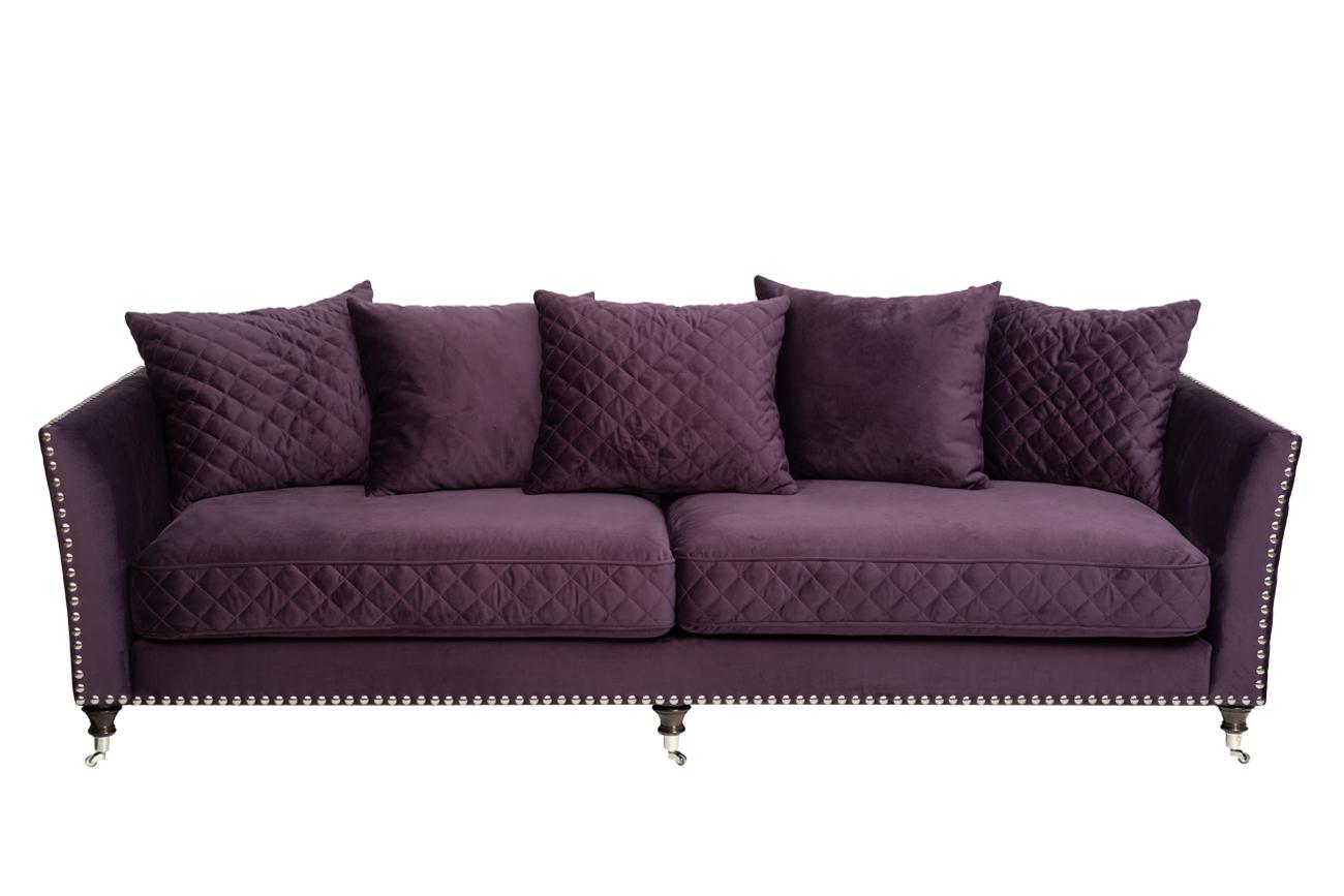 Диван Sorrento трехместный велюровый фиолетовый (SORRENTO2K-ФИОЛ-Bel14) Garda Decor