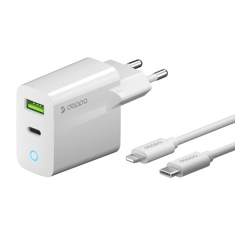 Сетевое зарядное устройство USB-C + USB A, PD 3.0, QC 3.0, 20Вт, дата-кабель USB-C - Lightning (MFI)