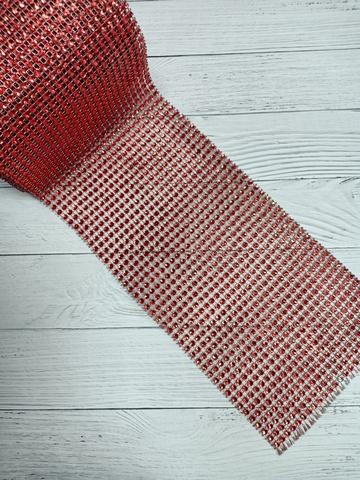 Стразы на тканевой основе, красный, размер  11.5 см*100см