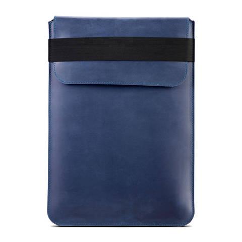 Синий вертикальный кожаный чехол Gmakin для MacBook