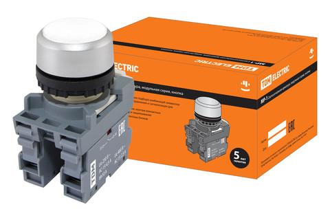 Кнопка MP1-20W в сборе d22мм 1з+1р белая TDM