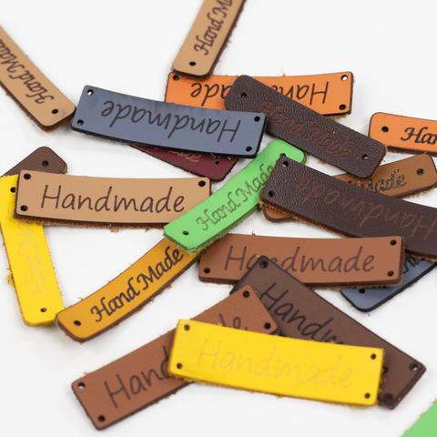 """Бирки пришивные из экокожи случайного цвета """"Hand Made"""" N9 (3 шт.)"""