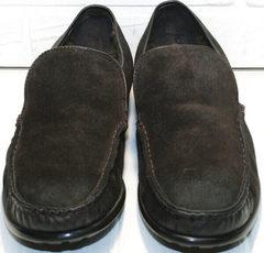 Зимние мужские мокасины из натуральной кожи Welfare 555841 Dark Brown Nubuk & Fur.