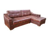 Угловой диван Макс П5 2д1я, натуральная кожа + кожзам, контрастная строчка
