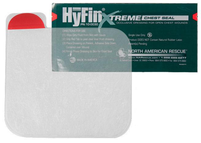 Окклюзионный пластырь HyFin Xtreme Chest Seal, герметик-повязка для пневмоторакса (невентилируемый)