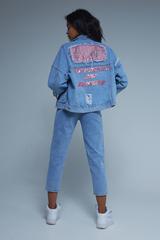 Джинсовая куртка с нашивками женская купить