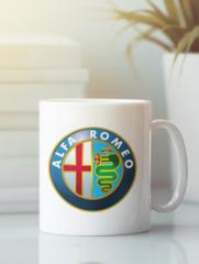 Кружка с рисунком Альфа Ромео (Alfa Romeo) белая 003