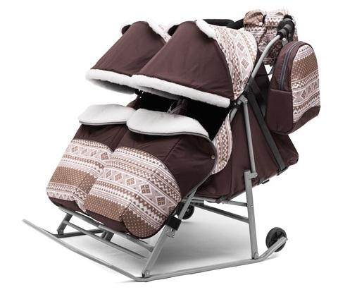 Санки коляска для двойни TWIN коричневый