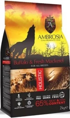 Ambrosia Adult Dog Buffalo & Mackerel - Для собак, беззерновой, буйвол/свежая скумбрия 12 кг.