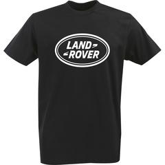 Футболка с однотонным принтом Ленд Ровер (Land Rover) черная 005