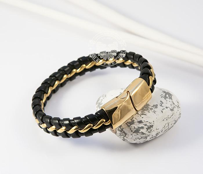 BM380 Мужской браслет из золотистой стали и кожи на магнитной застежке (18 см) фото 06
