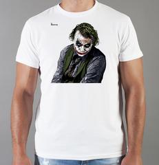 Футболка с принтом Джокер, Тёмный рыцарь (Joker, The Dark Knight, Хит Леджер) белая 0023