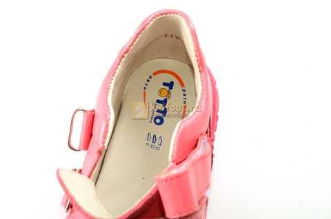 Ботинки Тотто из натуральной кожи на липучках демисезонные для девочек, цвет розовый. Изображение 11 из 12.