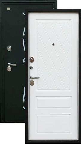 Дверь входная Z-7 стальная, белый софт, 2 замка, фабрика Зевс