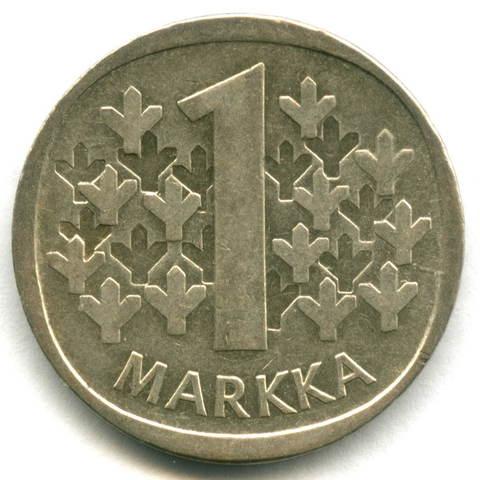1 марка 1966. Финляндия VF-XF. Серебро