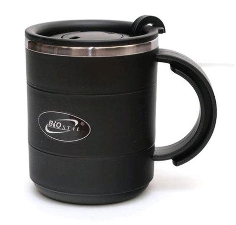 Кружка Biostal (0,4 литра) с крышкой, черная