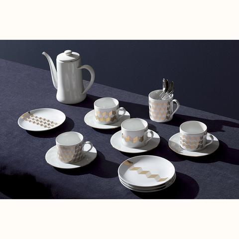 Набор из 4 чашек для чая с блюдцами Signature Chevron 250 мл, золото