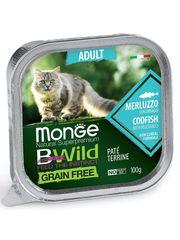 Беззерновые консервы для взрослых кошек, Monge Cat BWild GRAIN FREE, из трески с овощами