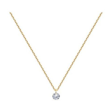 92220- Циркон бриллиантовой огранки без оправы на цепочке из серебра в позолоте