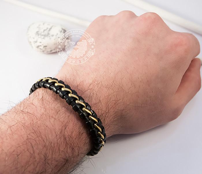 BM380 Мужской браслет из золотистой стали и кожи на магнитной застежке (18 см) фото 07