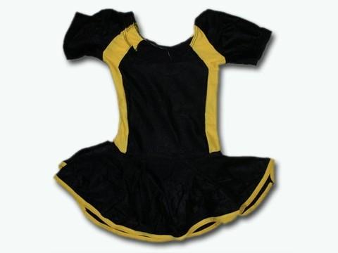 Купальник гимнастический модельный с юбкой. Состав: полиэстер. Размер S. Цвет: чёрно-жёлтый. :(2008):