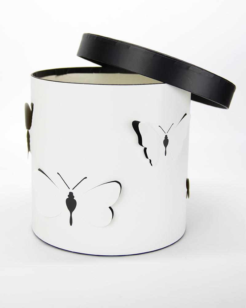 Коробка Цилиндр Белый-Черный  Средняя  (с бабочками)