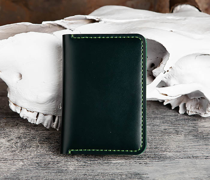 WB170-4 Обложка ручной работы из кожи зеленого цвета фото 02