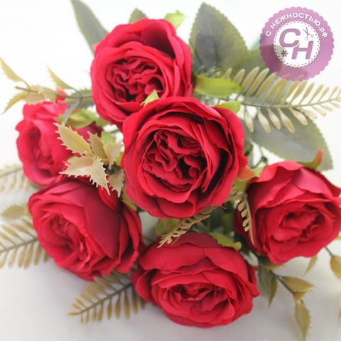Розы искусственные пионовидные, букет 6 цветков, 31 см.