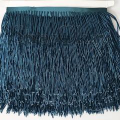 Купить оптом бахрому из стекляруса Sea Storm сине-зеленую
