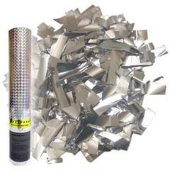 Пневмохлопушка в пластиковой тубе Серебряное конфетти, 30 см