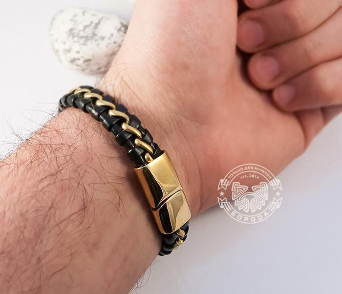 BM380 Мужской браслет из золотистой стали и кожи на магнитной застежке (18 см) фото 08
