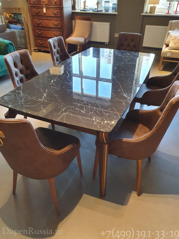 Обеденный стол ELEGANTE (Мраморный) темный мрамор и Стулья ELEGANTE с ручкой коричневые