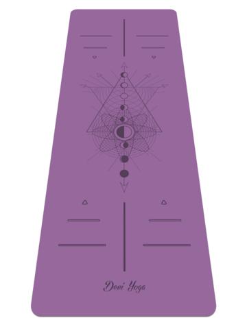 Каучуковый йога коврик Lunar Cycle с разметкой 185*68*0,4 см нескользящий