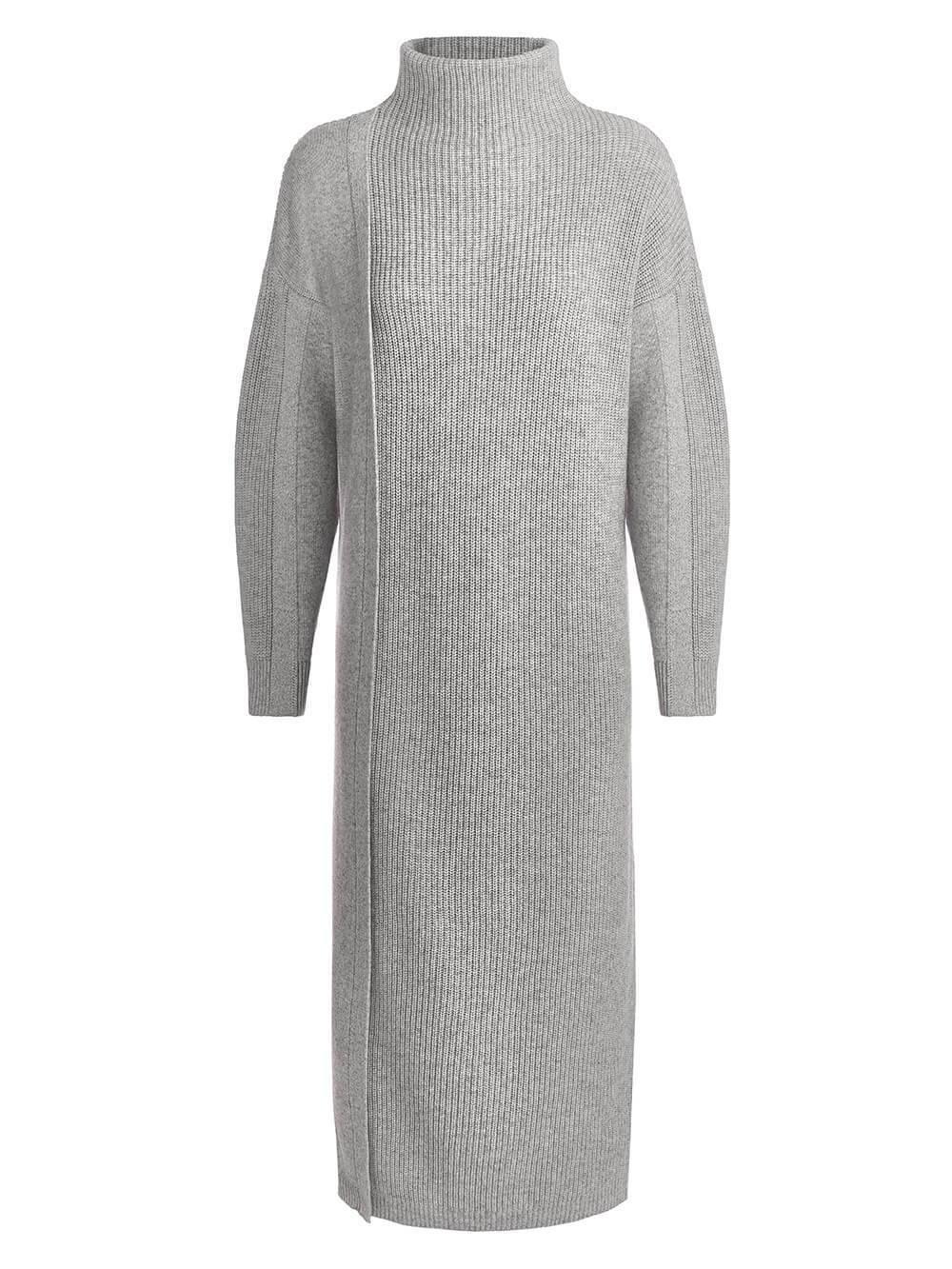 Женское платье светло-серого цвета из шерсти и кашемира - фото 1