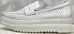 Туфли лоферы женские - белые кроссовки на высокой подошве Derem 372-17 All White.