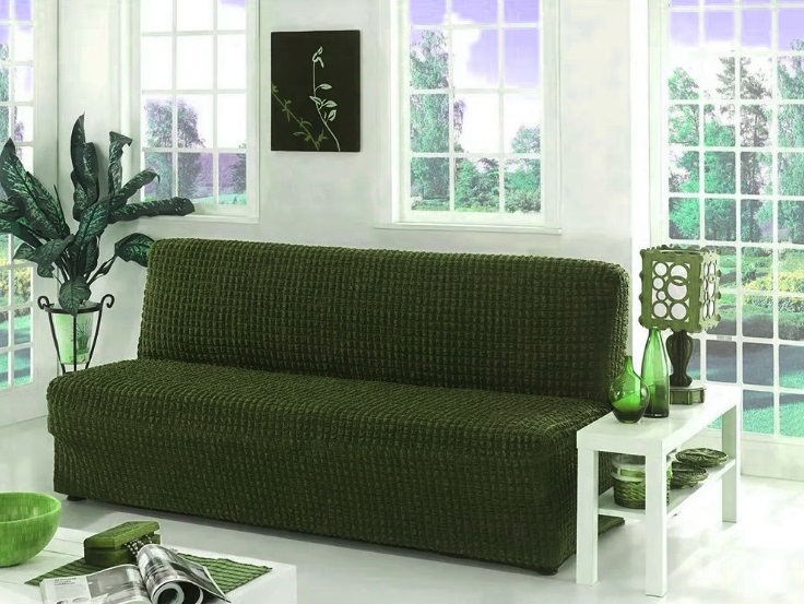 Чехол на диван без подлокотников, изумруд