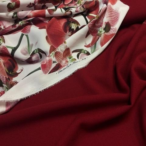 Ткань шерсть креп бордовый цвет 3083