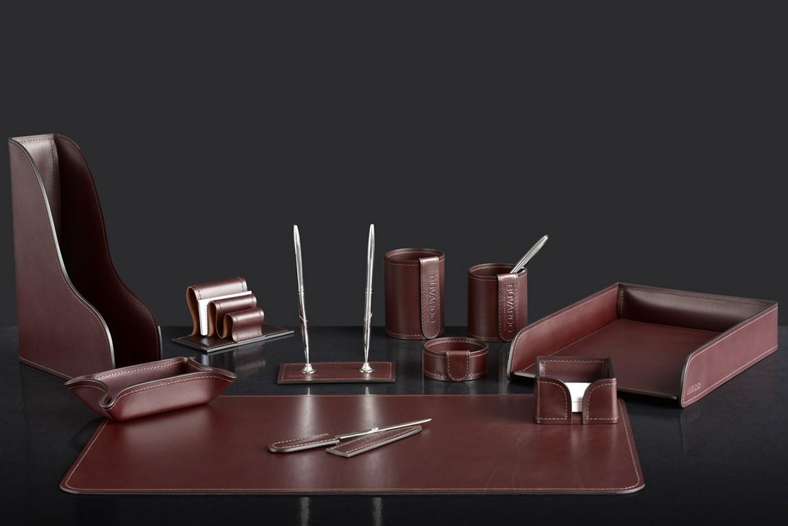 На фото набор на стол руководителя 72717 11 предметов кожа LUX Full Grain цвет