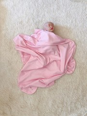 Трикотажный плед Рибана (розовый)