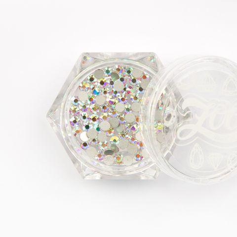 Стразы стеклянные прозрачные AB голография SS8 (2,5 мм) 100 шт (1090)