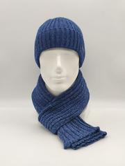Мужской комплект шапка по голове с отворотом и шарф, синий меланж