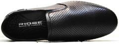 Кожаные мокасины туфли с перфорацией smart casual для мужчин Ridge Z-291-80 All Black.