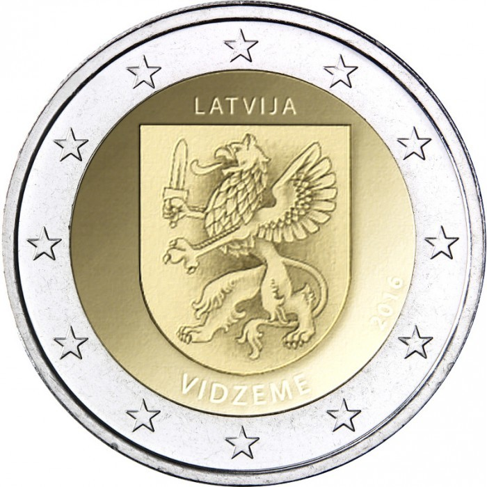 2 евро 2016 Латвия - Видземе