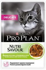 Пауч Purina Pro Plan DELICATE, для взрослых кошек с чувствительным пищеварением, с ягненком