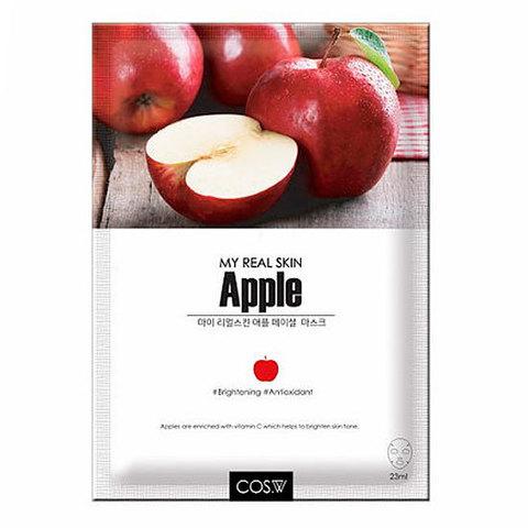 Тканевая маска для лица яблоко COS.W My Real Skin Apple Facial Mask