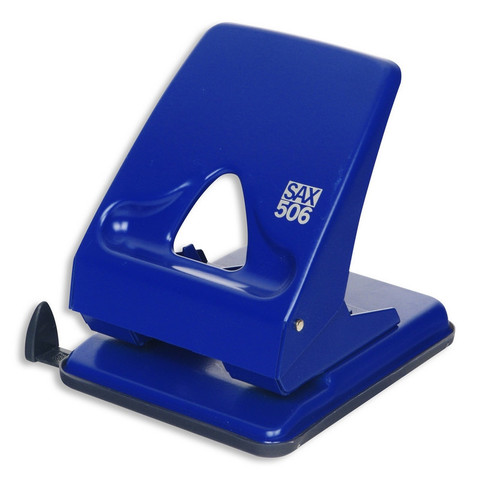 Дырокол Sax 506 до 40 листов синий с линейкой