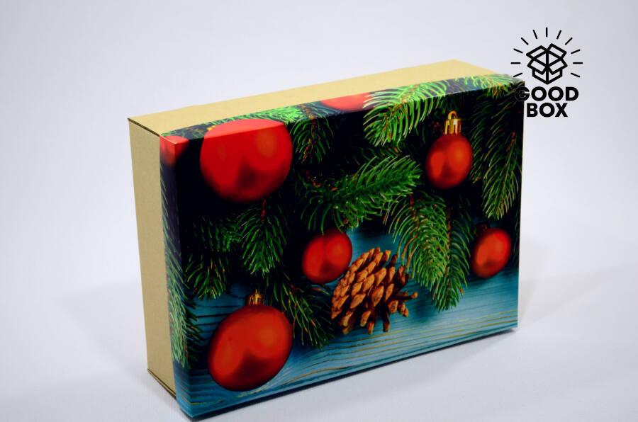 Новогодняя коробка яркая купить в Алматы